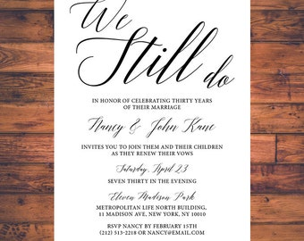 Vow Renewal Invitation We Still Do Simple Traditional Classic Vow Renewal Invite Digital Printable VR001