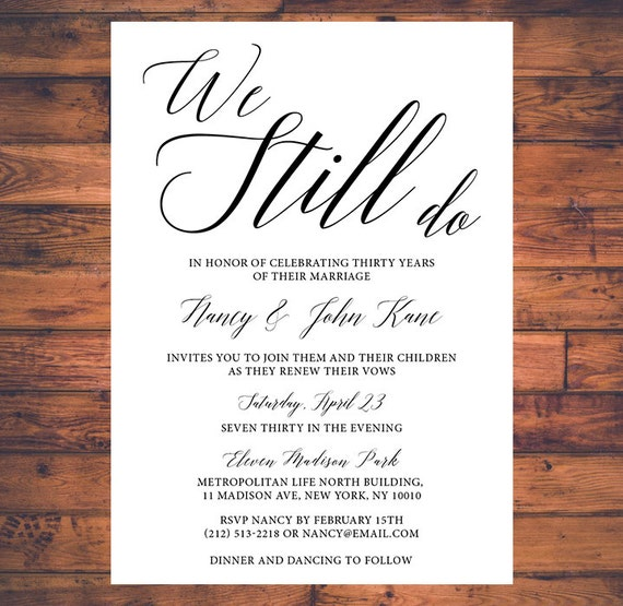 Vow Renewal Invitation We Still Do Simple By Brightpaper