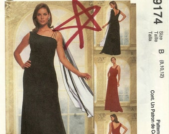 Evening Elegance MCCALLs 9174 Sizes 8-10-12. Prom, bridesmaid. GOWN. One shoulder. Asymmetrical. Sewing Pattern.