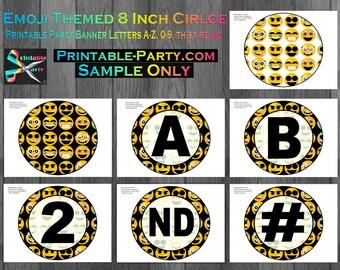 8x8 Inch Circle Emoji Printable Banner Letters