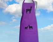 Alpaca & Baby Cria ~ Silhouette Hand Screen Printed Purple Magenta Pure Cotton Drill Apron.