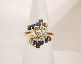 1.25 Carat T.G.W. Ladies Blue Sapphire & Diamond Ring 14K
