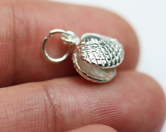 2pcs 925 Sterling Silver Jewellery findings Shell Charm Beads , 10*10mm shell- FDSSB0404