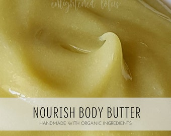 Nourish Whipped Body Butter, Nourishing Formula with Shea Butter and Organic Coconut Oil, Handmade, Small Batch Body Butter