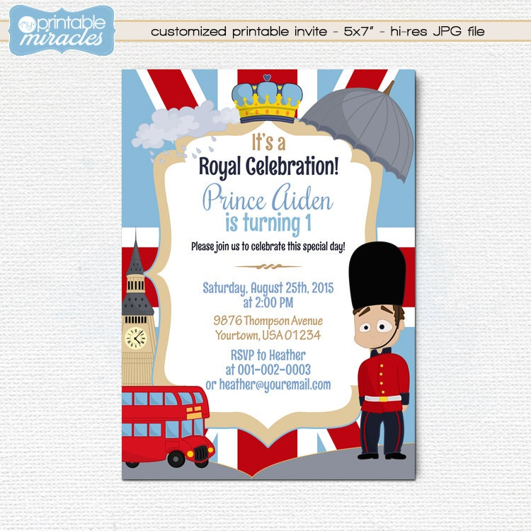 London birthday invitation Printable British party invite