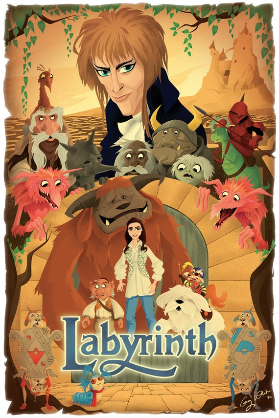 Labyrinth 1986 Movie Poster Print film by TightywhiteArt ... Labyrinth 1986 Poster