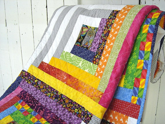 Modern Cabin Bedding: Modern Log Cabin Quilt / Twin Bed Quilt / Extra By EfkaQuilts