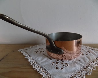 French vintage copper sauce pan cast iron handle, made in France.