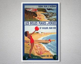 Les Belles Plages de Vendee, France Vintage Travel Poster - Poster Paper, Sticker or Canvas Print
