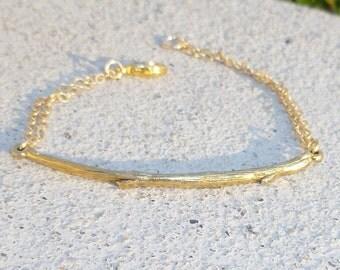 Gold Bracelet + Gold Bar Bracelet + Twig + Cuff Bracelet + Leaf Bracelet + Gold Bar Bracelet + Bar Bracelet + Gold Chain Bracelet + Bangle