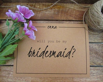 "Will You Be My Bridesmaid Card | Bridesmaid Proposal | Folded 5""x7"" Card & Envelope 