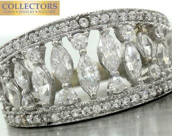 Ladies 14K 585 White Gold Cubic Zirconium CZ Band Ring