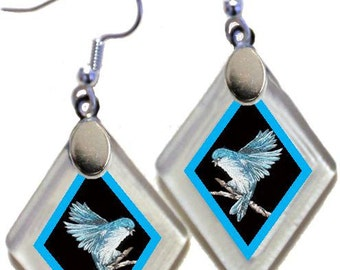 "Earrings ""Annie's Bluebirds"" from rescued, repurposed window glass~art by Annie Miller Romero"