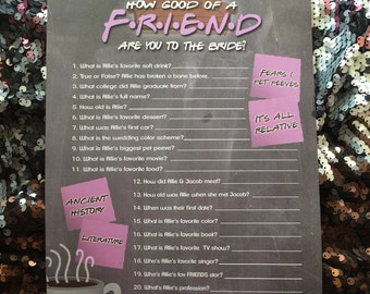 FRIENDS TV Show Party Friends TV Show Trivia Friends theme