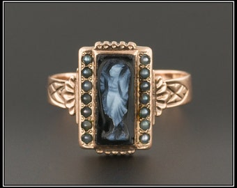 Antique Victorian Cameo Ring | Hand Carved Onyx Cameo Ring | Onyx & Pearl Ring | 14k Gold Ring
