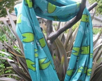 Frog Tadpole Lilly pad Infinity Scarf made from Performance Knit