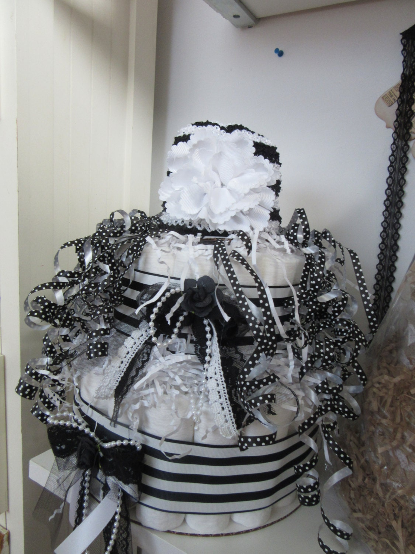 black white shabby chic two tier diaper cake. Black Bedroom Furniture Sets. Home Design Ideas