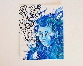 OOAK. Blue woman portrait. Surreal mermaid illustration. Ink artwork. Splash effect. Feminine art painting. 5x7 inches. Ready to frame.