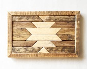 Reclaimed Wood Native American Wall Art - Reclaimed Wood Wall Art - Geometric Wood Wall Art - Geometric Wood Art -Wood Art - Wall Art