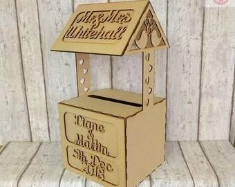 Wedding guest book alternative, wedding wishing well, hearts wishing well, wooden box for wedding cards