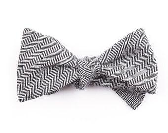 Black Herringbone Bow Tie