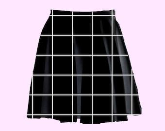 grid skater skirt | plus size nu goth pastel grunge cyber punk minimal aesthetic tumblr harajuku kawaii cute 90s skater skirt