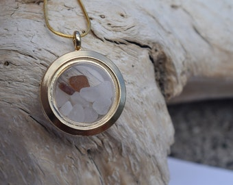 Gold Sea Glass Locket - Sea Glass Locket - Sea Glass Jewelry