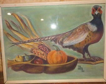 Vintage Phesant Still Life Colored Drawing/Signed