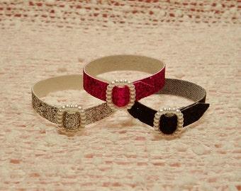 Barbie Doll Belts - 3 Glitter Belts - Silver, Hot Pink, & Black