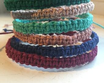 Adjustable Hemp Bracelet, Choose Color, Custom Bracelet, Hemp Jewelry, Natural, Stackable Bracelet