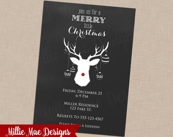 SALE 25% OFF Chalkboard Rudolph Invitation - Deer - Antler - Reindeer