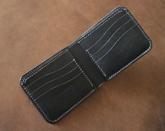 Handmade Men's Leather Bifold Wallet - Full Size Leather Wallet - Black Bridle Leather - Hand stitched