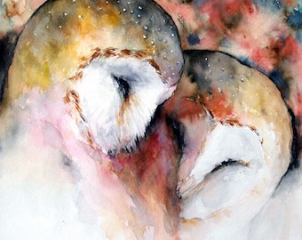Barn Owl Original Painting Watercolor Owl Painting Contemporary Wall Art Birds Artwork Love Art Animals Red 11x12
