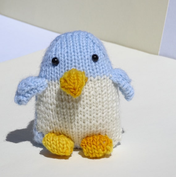 Hand Knitted Toys : Penguin hand knitted baby plushie blue toy soft