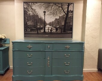 "Sold**Sold**Sold**High Gloss Blue Dresser/Buffet ""FREE SHIPPING"""