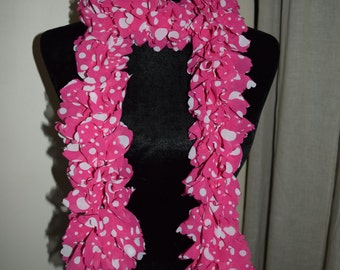 Chic Pink Polka Dot Scarf, Fabric Scarf, Pink Fashion Scarf, Whimsical Scarf