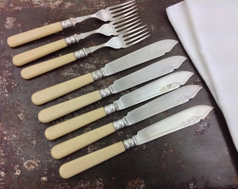 Antique Silver Plated Five Fish Knives and Three Forks EPNS