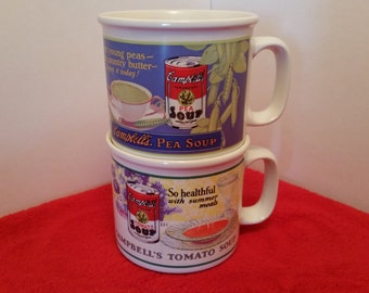 vintage Campbell's soup mugs / set of 2, by Westwood 1994 / canpbells split pea and Campbell's tomato