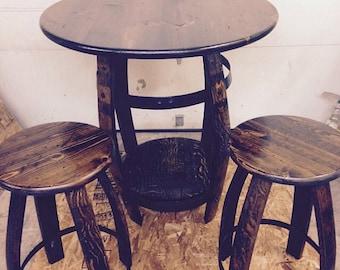 Wine Barrel Pub Table & Two Stools Walnut