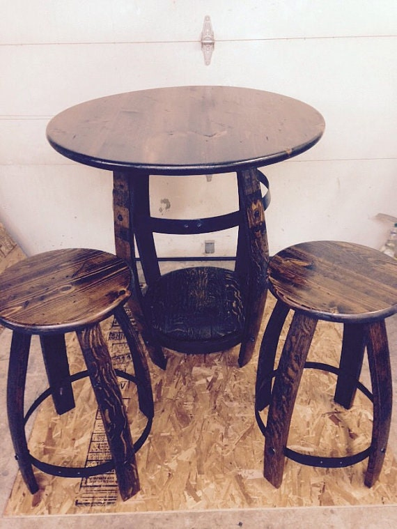 Wine barrel pub table two stools walnut for 1 2 wine barrel table