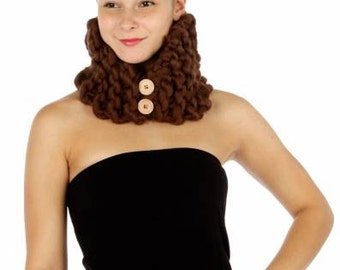 Chunky Brown Crochet Cowl Neckwarmer  with Buttons
