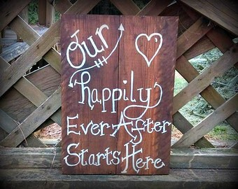 ON SALE Rustic Our Happily Ever After Starts Here Sign Happily Ever After Sign, Happily Ever After Wedding Sign, Rustic Wedding Sign