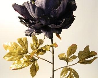 "Silk Peony Spray in Dark Antique Blue - 36"" Tall"