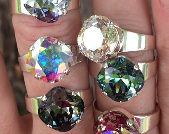 Pick Your Color and Finish~ Swarovski Crystal Ring, 12mm Cushion Cut, Crystal Statement Ring, Ultra Colors