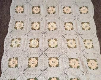 Afghan Rosette Granny Square Throw Blanket Vintage