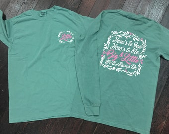 Big/Little/Gbig Floral Sorority Comfort Colors Long Sleeve T-Shirt