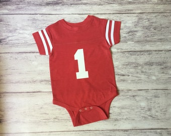 First birthday shirt, boys first birthday. Football birthday shirt, football party, toddler football jersey, 1st birthday shirt