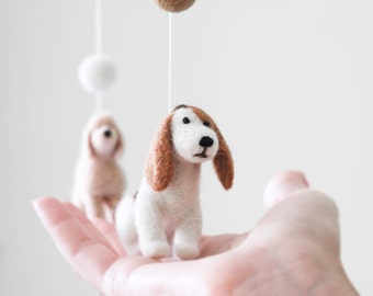 Needle Felted Dogs Baby Mobile, Baby Crib Mobile, Nursery Decor, Baby Shower Gift