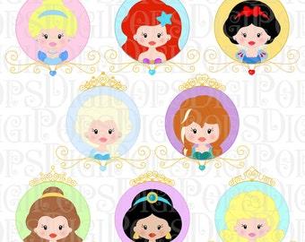 PRINCESSES CIRCLES Digital Clip Art Set -Personal and Commercial- Elsa, Anna, Cinderella, Belle, Ariel, Snow White, Sleeping Beauty, Jasmine