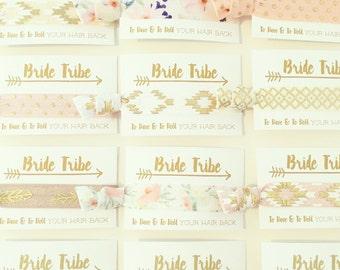 CHOOSE YOUR PRINTS Bride Tribe Hair Tie Favor | Bohemian Bachelorette Hair Ties, Gold Boho Bachelorette Hair Tie Favor, Bridesmaid Gift